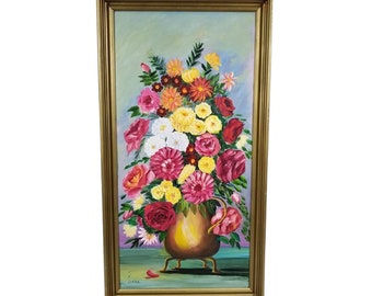 """Vintage Floral Still Life Oil Painting Artist Signed by MK Lomax  33"""" Tall"""