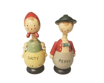 Vintage Wooden Salty & Peppy Danish Shaker Set