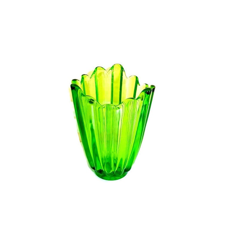 Mid Century Fostoria Celestial Green Glass Vase 6.75 image 0