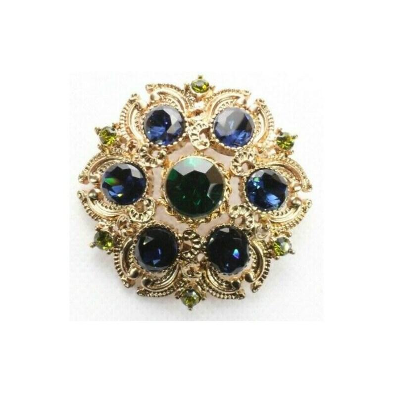 Vintage Designer Green and Blue Rhinestone Brooch Signed image 0