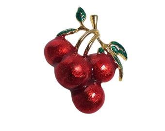 Vintage Red Enamel Cherry Brooch