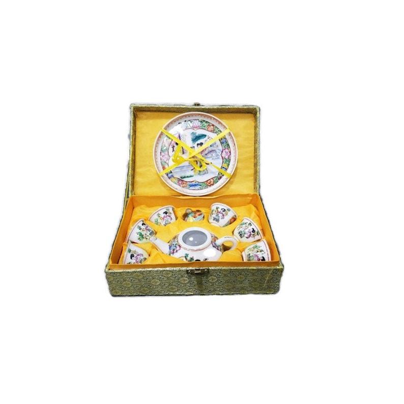 Vintage Chinoiserie Tea set in Silk Brocade Storage Box 8 Pc image 0