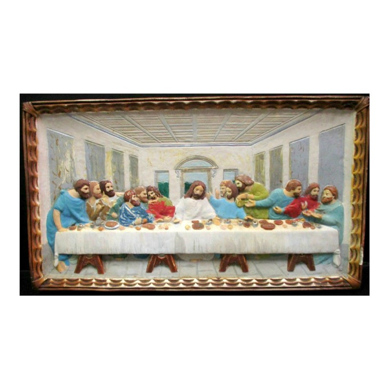Vintage Last Supper Relief Art Wall Plaque by Roman Art Co image 0