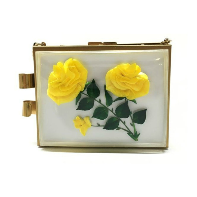 Vintage Lucite with Roses Gold Clutch Gold Minaudiere image 0
