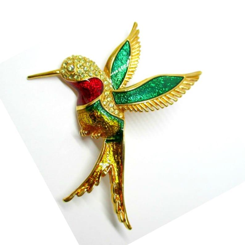 Vintage  Enamel & Crystal Hummingbird Brooch Kitschy Jewelry image 0