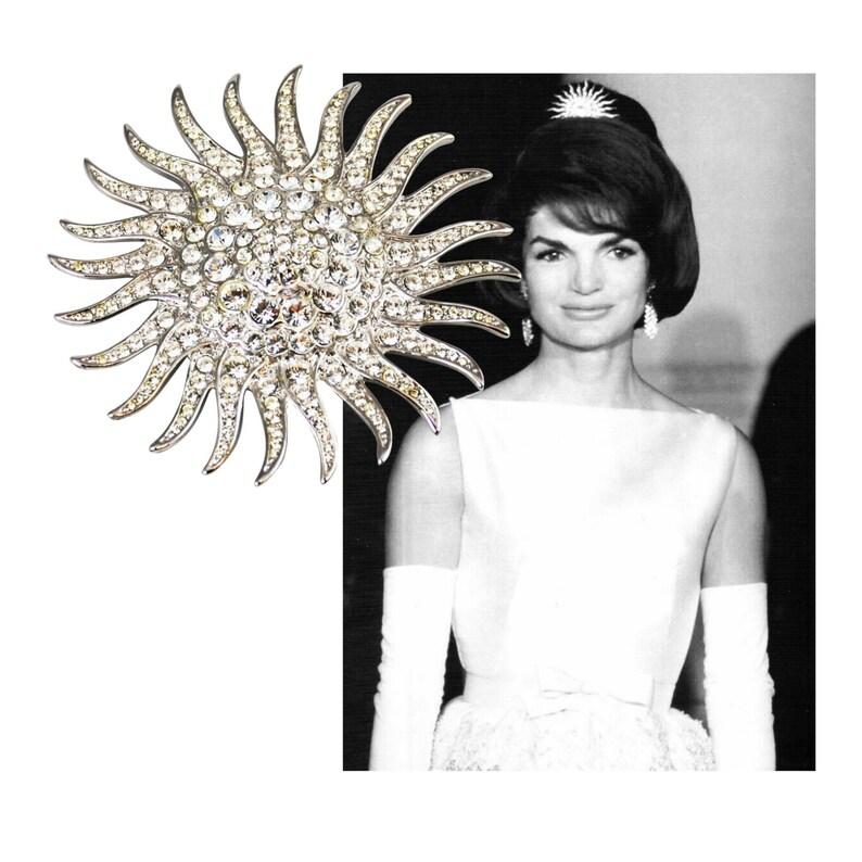 JACQUELINE KENNEDY Sunburst Brooch with Crystals JBK image 0