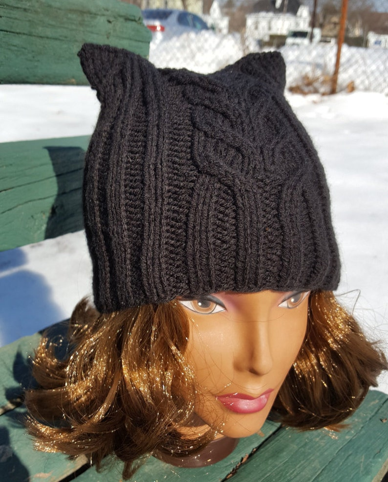 21717c73069 Cat hat   Black Pussycat hat   Black cat hat   Knit Cat Ear