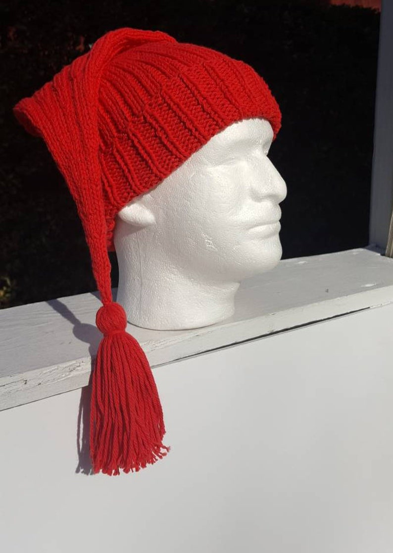10cf94f275f09 Smee Hat Stocking Cap with tassel tail Christmas Elf hat Mr