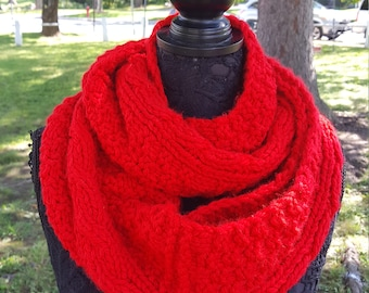 sale, red loop scarf, red scarf, xmas knit scarf, ready to ship, red chunky shawl, oversized scarves in red, red winter scarf, scarfs in red