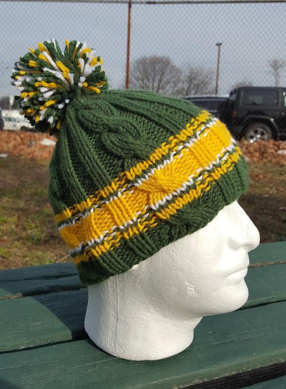 b7c6c10d Green hat, Green Bay, Knit Beanie Packers, Green Knit hat, Football Knit  men, Packers pom pom beanie, Winter warm hat
