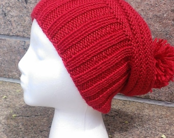 red hat, red winter hat, free shipping, red slouchy hat, winter hats in red, winter red beanie, hats with pom poms, red slouch, hipster hat