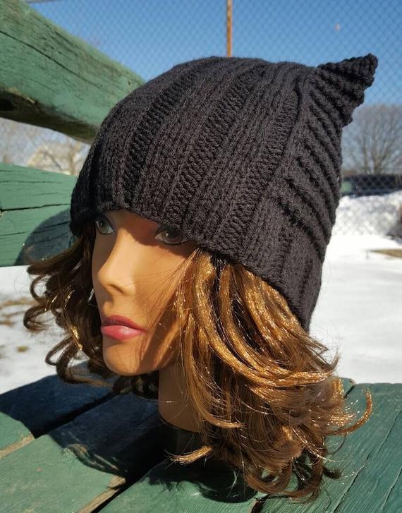 Cat hat   Black Pussycat hat   Black cat hat   Knit Cat Ear  3e8905598e8