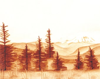 Instant coffee painting of Mount Rainier, MR National Park, WA  8x11 painting with 11x14 white mat, original artwork