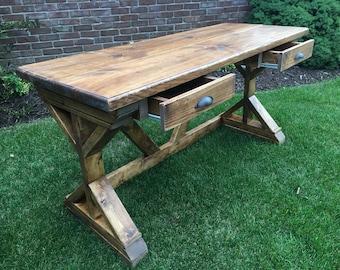 rustic desk etsy rh etsy com rustic wood desk diy rustic wood desk designs