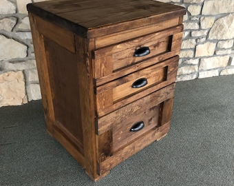 Rustic 3 Drawer File Cabinet/Nightstand