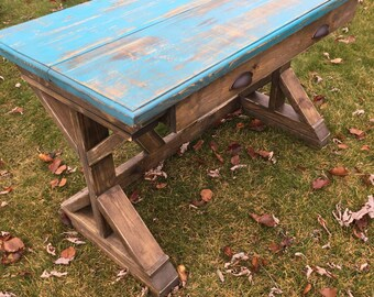 Distressed rustic desk with single drawer
