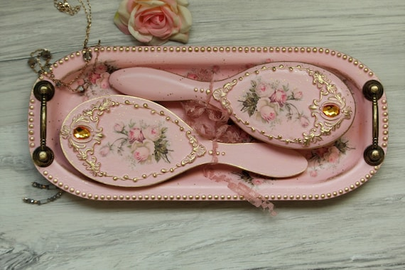 Pink Gold Hairbrush And Mirror Pink And Gold Vanity Table Set Etsy