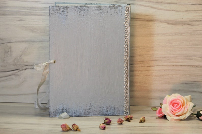 Rustic French Wedding Wedding Guest Book Silver and Misty Blue Wedding Wishes  Book Misty Blue Rustic Guest Book Silver Wedding Book