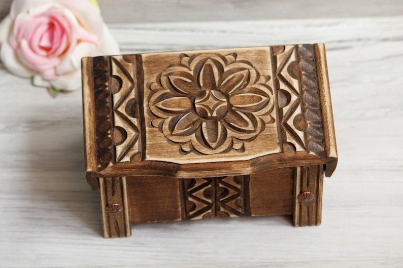 Wood Jewelry Box Cottage Trinket Storage Woodcarving Box Personalized Box Engarving Box Anniversary Gift Makeup Box Rustic Wood Box