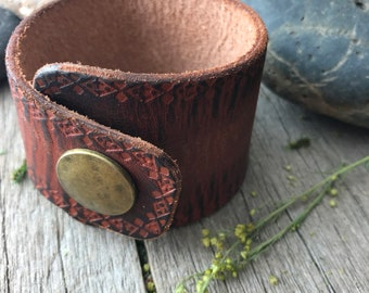 Leather Wrap Cuff in Warm Browns with Tribal Design, Rustic Finish