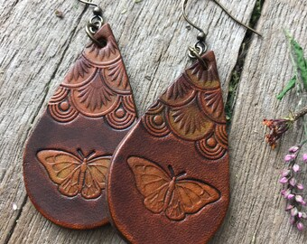 Hand Tooled Leather Earrings with Butterfly in Chocolate Brown, Gold and Olive Green