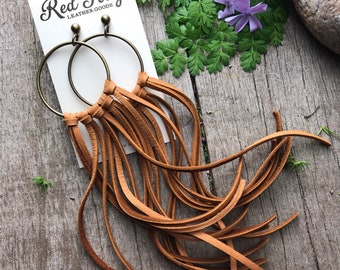 Long Leather Whiskey Brown Buckskin Fringe Earrings with Smooth Antiqued Brass Hoops
