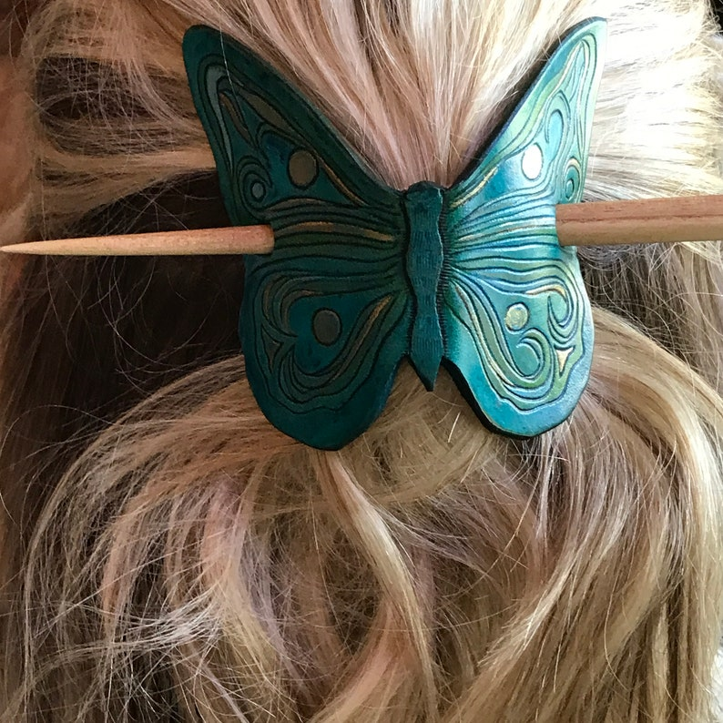 Plum and Bronze Leather Butterfly Hair Slide Hair Stick Barrette Olive Green Hand Tooled and Painted Hair Barrette