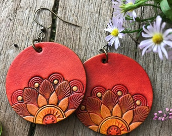 Tooled Leather Earrings, Fun and Funky Flower Design, Bright Coral, Orange and Metallic Gold
