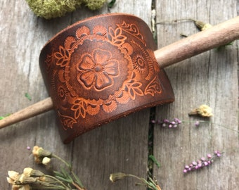Hand Tooled Leather Hair Slide Barrette, Caramel and Chocolate Brown Rustic Finish with Southwest Wild Flower Design