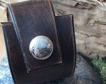 Distressed Leather Cuff Bracelet, Mens or Womens Fashion, Rustic Hand Finished Chocolate Brown Leather Cuff