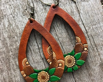 Hand Tooled Leather Teardrop Earrings, Floral Design in Warm Browns and Greens with Metallic Gold Accents