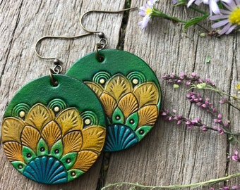 Tooled Leather Earrings, Fun and Funky Peacock Feather Design, Bright Blues, Greens and Golds