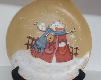 Christmas Plate, Holiday Plate, Snowman Plate, Snowman, Winter Plate