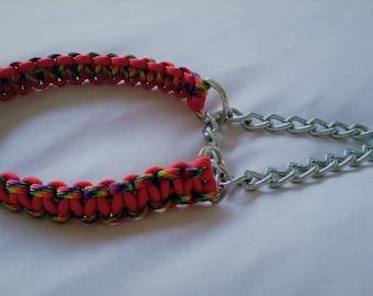 Martingale Dog Collar, Custom made, Paracord 550, Cobra weave, Many colour combinations,