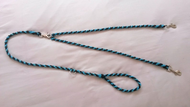 Dual Dog Leash with detachable splitter, Paracord 550, 4 Strand round  braid, Many great colour combinations