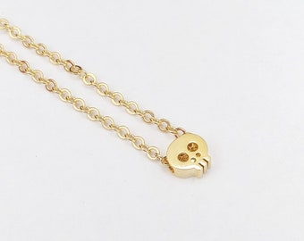 Tiny gold skull necklace, skull necklace, gold necklace, skull jewelry