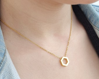 Geometric hexagon gold necklace, geometric gold necklace, hexagonnecklace, necklaces for women, minimal necklace