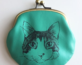 Cat Coin Purse - BENZI 2 - Green Leather Screen Printed Change Purse Credit Card Holder cat wallet jewelry case
