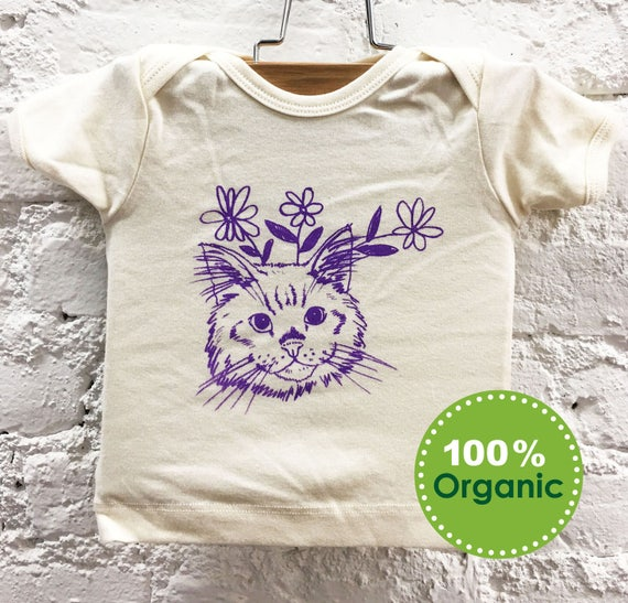 2aacc7c2d88c Cat Organic Cotton Baby T-shirt GIGI Natural x Purple Screen