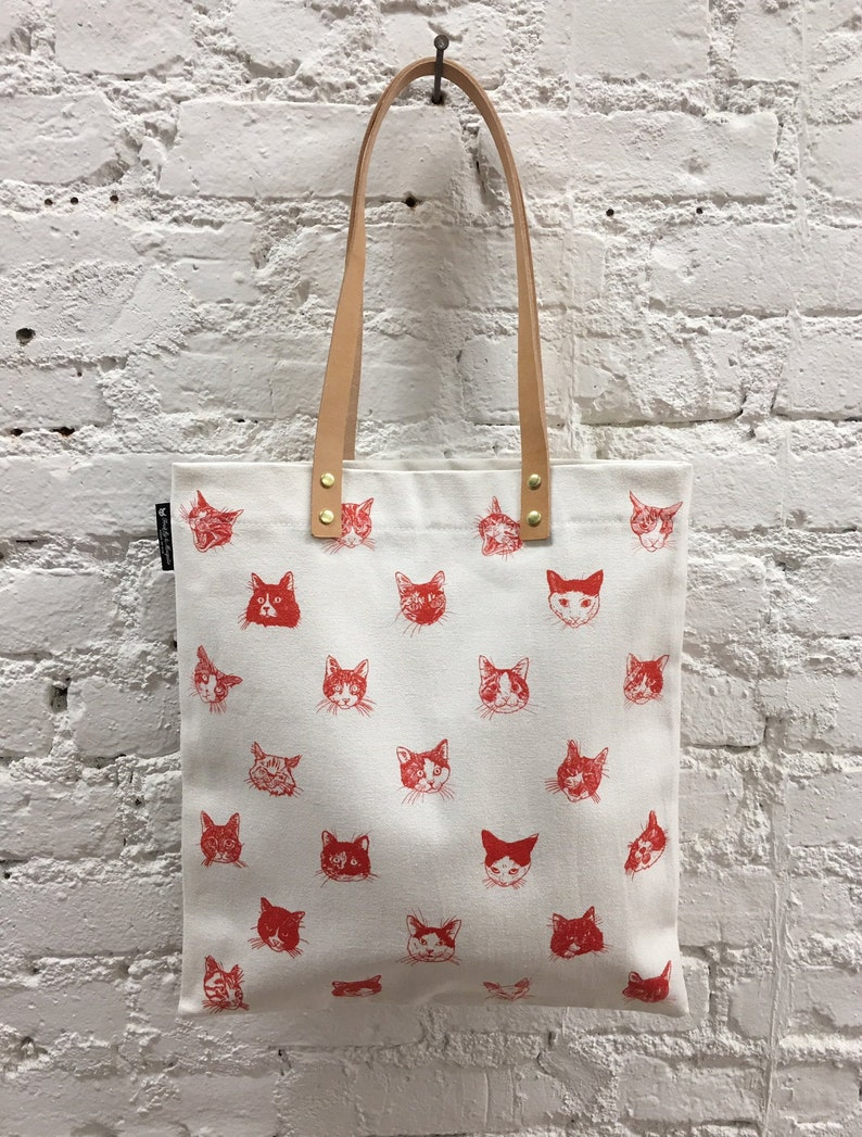 de985fcee45b Cat Print Tote with Leather Handle - Our HAIRY FRIENDS - White Canvas x Red  Printed Tote bag with Cats Illustration