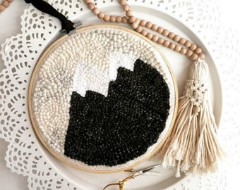 Mountain | Monochrome | Wall Hanging | Neutral | Nursery | Home Decor | Boho | Punch needle | Woven | Embroidery | Trendy | Wanderlust