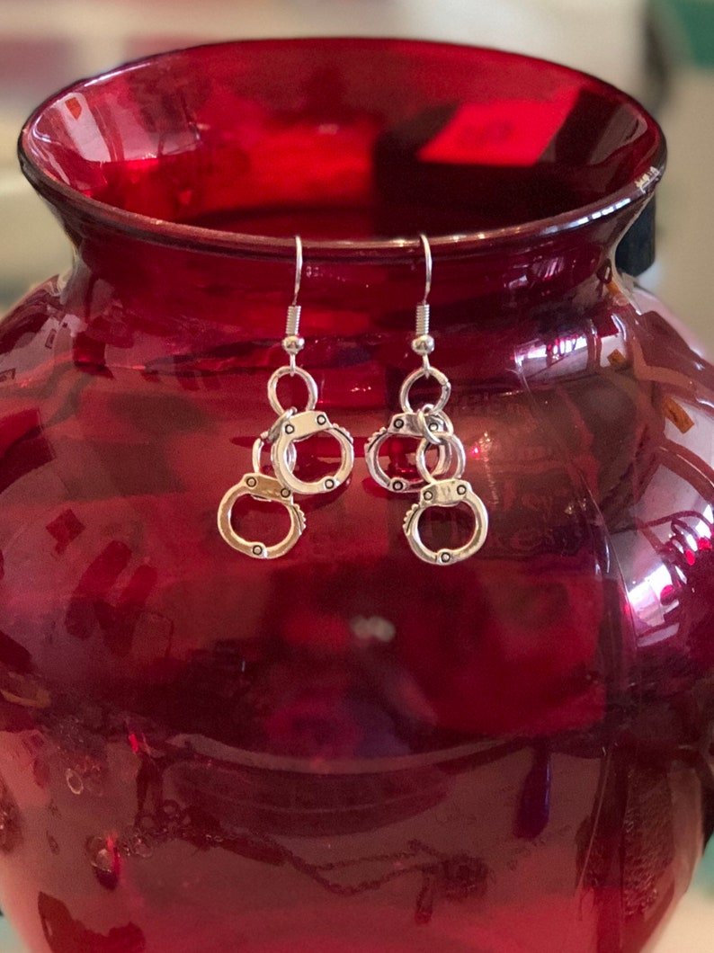 Set of handcuff dangle earrings with wrist or ankle bracelet...FREE SHIPPING!