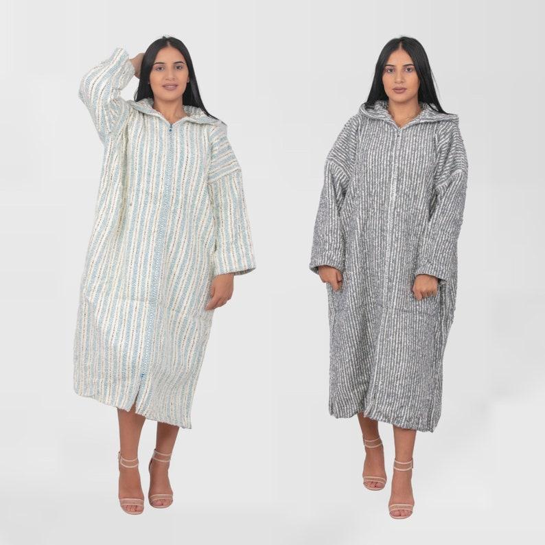 Handmade boho Clothing SET OF 2 Striped Djellaba Cardigan Hoodie Caftan from wool Berber clothing woman, Turtleneck dresses for women