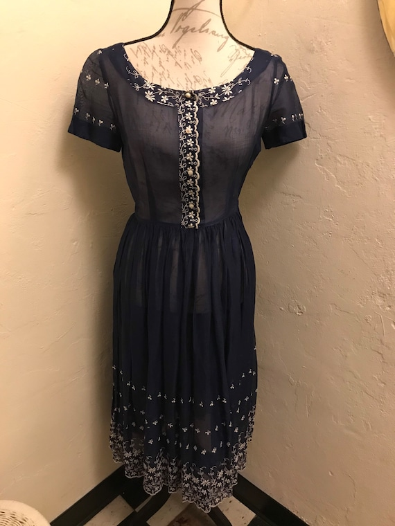 1940s sheer navy embroidered dress
