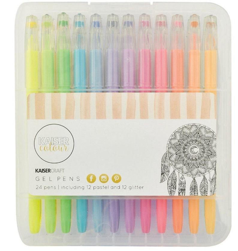 Assorted for Scrap book Kaisercraft KaiserColour Gel Pens 12 Pastel /& 12 Glitter Colors 24 Pack