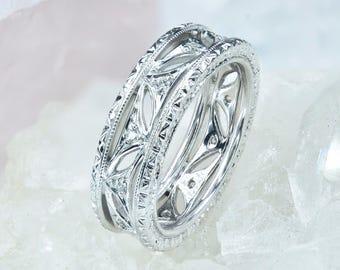Italian Wedding Ring, Diamond Wedding Band, Antique Engagement Ring, 18K White Gold Wedding Ring, Diamonds Wedding Ring, Wedding Band Womens