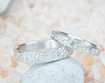 Wedding Band Set, Silver Engagement Rings, Silver Wedding ring set, His and Hers Rings, Hammered Wedding Bands, His and Hers Promise rings