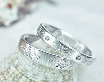 Italian Wedding Band Set, Promise Ring Set, Hand Engraved Rings, Wedding Ring Set, Floral Wedding Bands, Silver Wedding Bands, Promise Ring