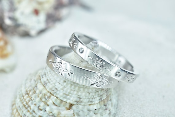 Italian Wedding Band Set Promise Ring Set Hand Engraved Etsy