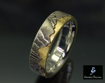 6mm Unique Wedding Band, Rustic Engagement Ring , Wedding & Engagement Ring, Wedding band for women for men, Wedding ring for her for him